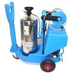 Pulvérisateur cuve inox 50 L sur chariot, compresseur air intégré, enrouleur 20 m + lance 70 cm